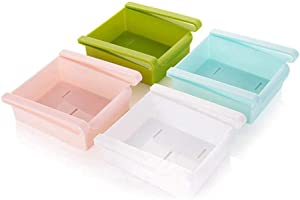 YAIKOAI 4 Pack Retractable Refrigerator Drawer Organizer Slide Fridge Storage Box Rack Plastic Space Saver Shelf Holder for Kitchen Organizing Vgetables, Canned Drinks, Meats, Fruit, Mixed Color