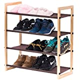 Stackable Wooden Shoe Rack, MaidMAX 4 Tiers Shoe Storage Rack Nonwoven Shoe ...