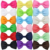 18Piece 2.6Inch Solid Grosgrain Ribbon Boutique Hair Bows With Clips For ...