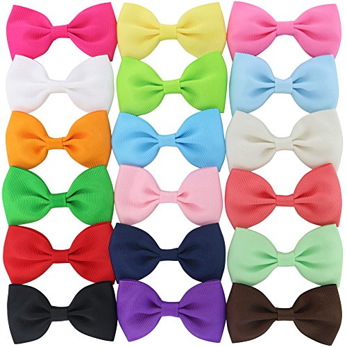 18Piece 2.6Inch Solid Grosgrain Ribbon Boutique Hair Bows With Clips (Boutique Hair Bow Clip)