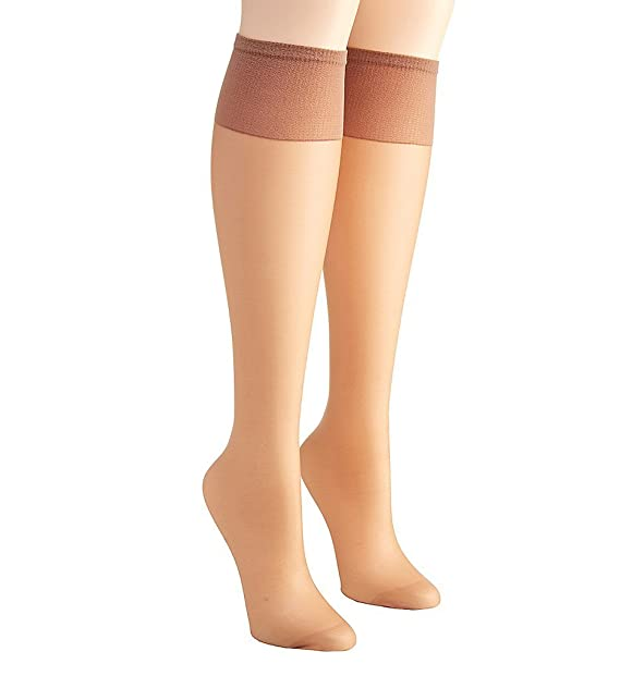 abb8f37d2884a Hanes Silk Reflections Women's Plus-Size 2 Pack Knee High, Barely There, One
