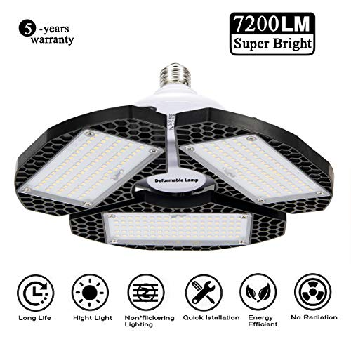 LED Garage Lights, Deformable LED Garage Ceiling Lights 72000 Lumens, CRI 80 Shop Lights for Garage,Ultra-Bright Mining Lamps with 3 Adjustable Panels,Working Light 、LED Light Bulbs for barn -