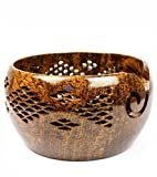 HANDMADE VINTAGE ART Premium Rosewood Crafted Yarn Storage Bowls With Decorative Carved Handmade Grills - Knitting & Crochet Accessories Supplies (Large)