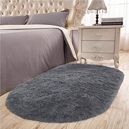 Junovo Ultra Soft Modern Fluffy Area Rug for Living Room Bedroom Kids Room Nursery,2.6 X 5.3,Gray