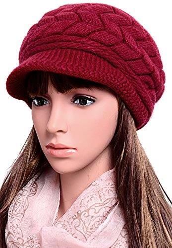 Odema Womens Knit Wool Hats with Visor Warm Skull Beanie Caps for Winter