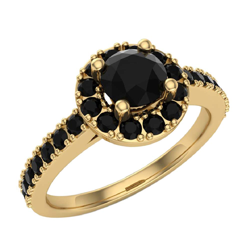 Black Diamond Halo Ring 1 Carat Total Weight 14K Yellow Gold (Ring Size 9) by Glitz Design