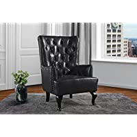 Upholstered Living Room Tufted Leather Armchair, Accent Chair with Nailheads (Black)