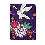 Crane And Flower Pattern Decorative Leather Passport Holder Cover Case Protector for Men Women Travel with Slots