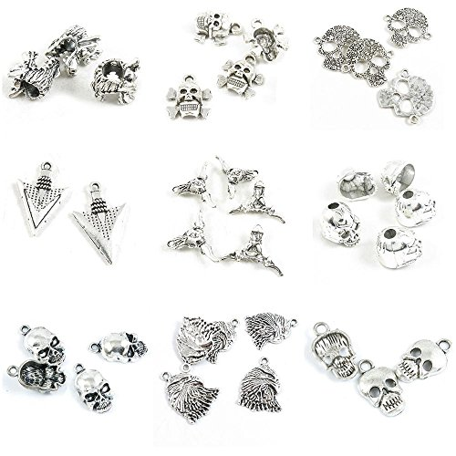 35 Pieces Antique Silver Tone Jewelry Making Charms Skull Head Eagle Hawk Cross Ox Bull Arrowhead Arrow Connector Dragon Loose Beads