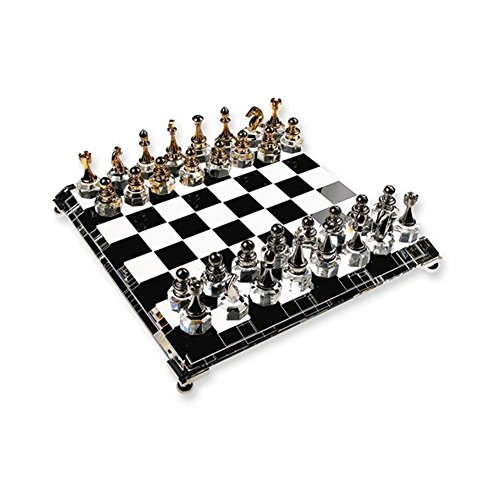 (Crystal Chess Set - Solid alloy chess pieces, silver-plated and gold-plated, beveled crystal base with solid silver-plated feet)