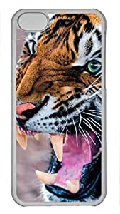 Shell Case for iphone 5C with Snarling Tiger DIY Fashion PC Transparent Hard Skin Case for iphone 5C
