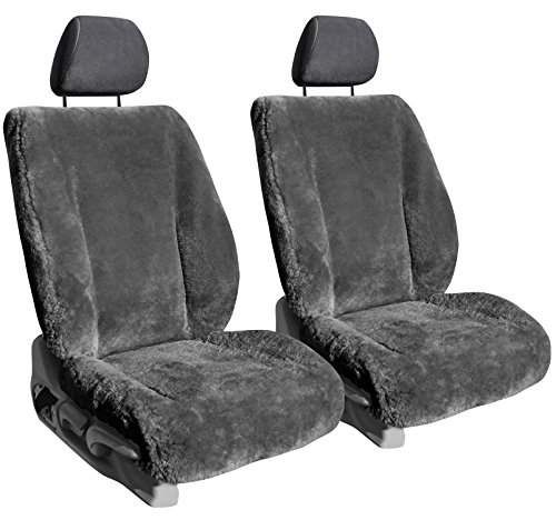 Front Seats: ShearComfort Custom Sheepskin Seat Covers for Chrysler Neon (2000-2002) in Charcoal for Buckets w/Adjustable Headrests
