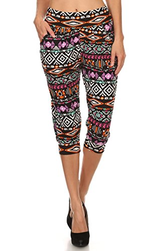 LA12ST Women's Purple Aztec Stretch Floral Printed Harem Capris Az8 One (Aztec Printed Shorts)