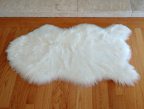 Faux Sheepskin Rug - Authentic Shape - 34.5 Inches x 19.5 Inches - Pure White - Very Soft (Rugs Small Sheepskin)