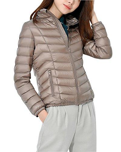 ZhuiKun Womens Down Jacket Stand Collar Lighweight Packable Puffer Jacket Coat Camel