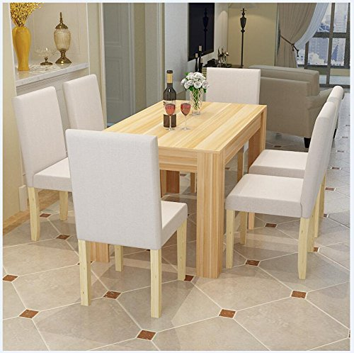 WV LeisureMaster 7 Piece 140CM Solid Original Wood Dining Table Sets,4-6 Person Dining Table and Cushion Seat Dining Chairs,1 Table&6 Cream Chairs