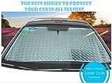 CDGroup Car Front Window Windscreen Reflective UV Laser Sun Shade Block Screen Silver Heat Reflective Foldable Car Sun Shade Windshield Visor Universal Front Sunshades
