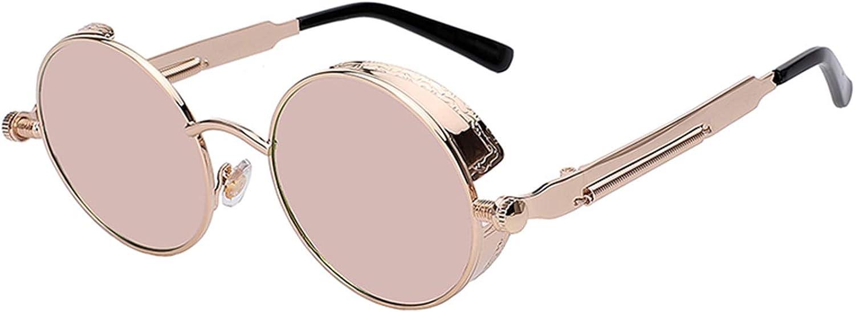 Sunwd Gafas de Sol, Mirror Lens Round Glasses Goggles Steampunk Sunglasses Vintage Retro For Men And Women Hisper Eyewear