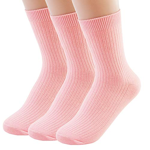 (VIVIKI Women Socks, Super Soft Combed Cotton Socks, Plain Ankle Socks 3 Pack (Light pink))