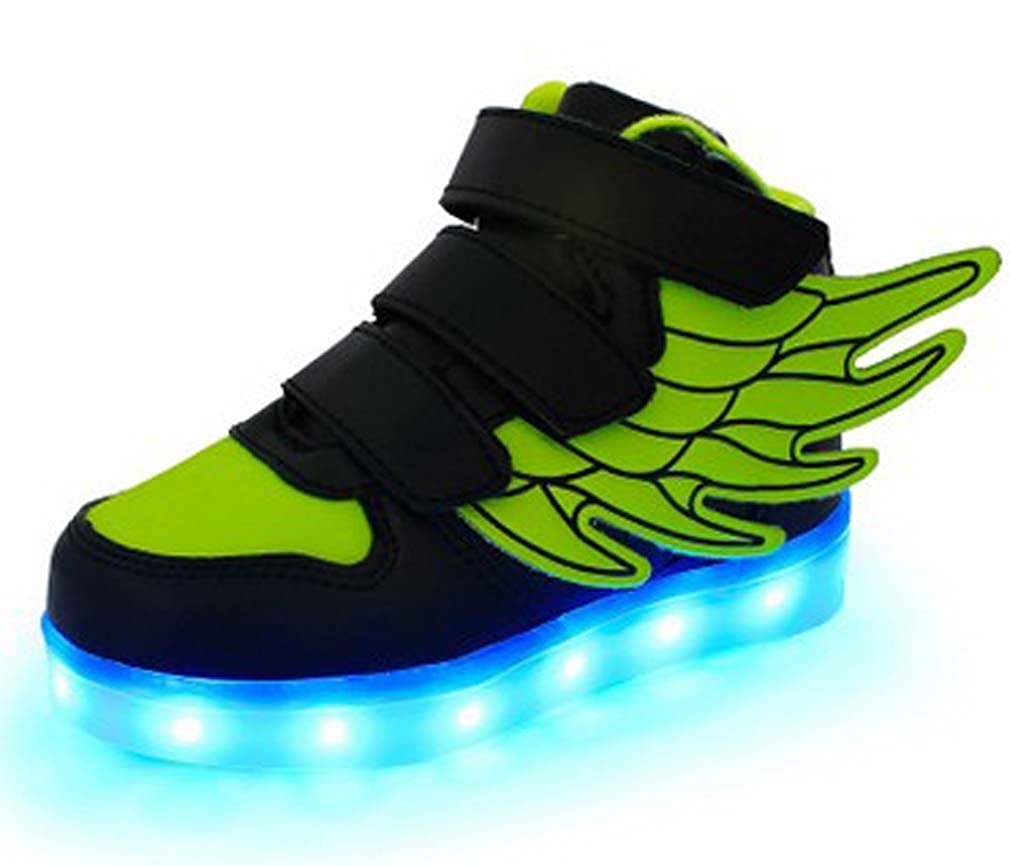 Pandabeauty Kid boy Girl LED Light up Sneaker Athletic Wings Shoe High Student Dance Boot USB Charge