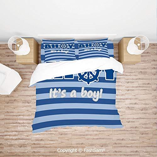 (FashSam Duvet Cover 4 Pcs Comforter Cover Set Baby Shower New Birth Announcement Marine Wheel Striped Backdrop for Boys Grils Kids(Single))