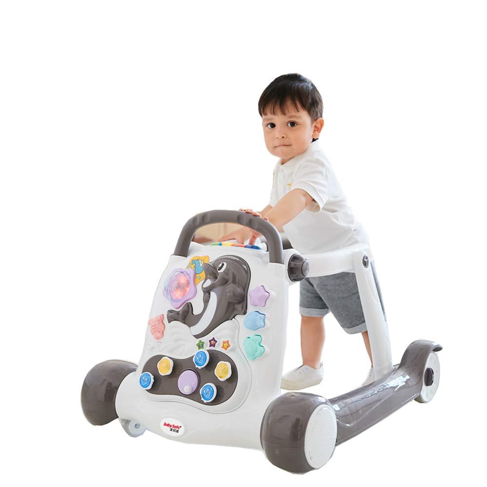 GAOJIE ロールオーバーを防止するために6-18ヶ月の子供の歩行器の多機能折り畳み式 (色 : ブラック)  ブラック B07KWXK1CH