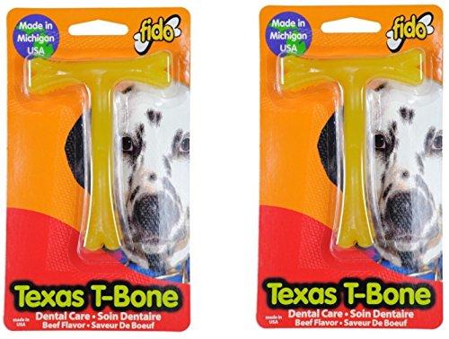 (Pack of 2) Fido Texas T-Bone Dental Dog Bone, Beef Flavored Size Small (Beef Flavored Rawhide Bones)