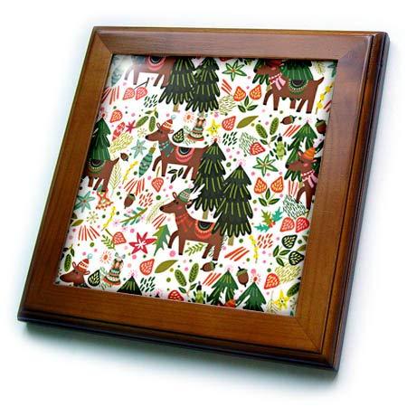 Deer Framed Tile - 3dRose Anne Marie Baugh - Christmas - Cute Folk Art Christmas Trees and Deer Pattern - 8x8 Framed Tile (ft_318501_1)