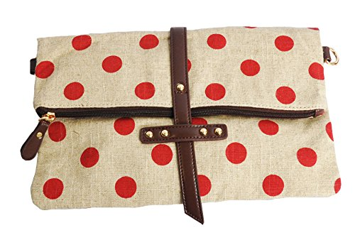 MoDA Ladies Polka Dots Patterned Canvas Clutch and Cross Body Handbag for iPads and Galaxy Tab 10