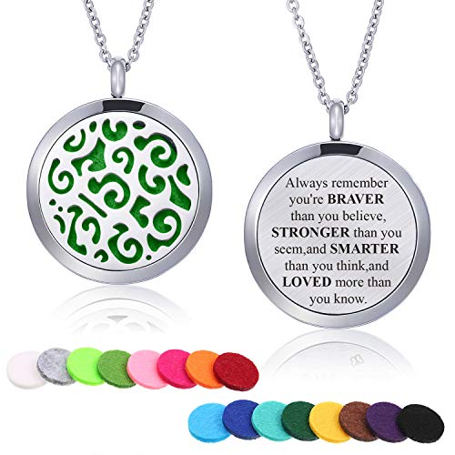 Mtlee Aromatherapy Essential Oil Diffuser Necklace Locket Pendant Stainless Steel Perfume Necklace with 16 Refill Pads and 24 Inch Adjustable Chain (Flower B)