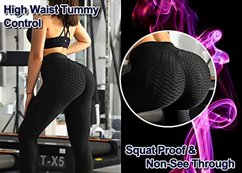 ViCherub Leggings for Women Scrunch Butt Lifting TIK Tok Yoga Pants PeachLift High Waisted,Workout Anti Cellulite Tummy Control Textured Compression Athletic Running Tights Black Plus Size