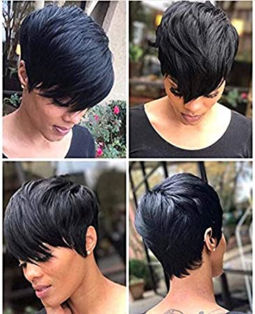 Amazon Com Ruisenna Short Hair Wigs Boy Cut Human Hair Short Pixie Wigs Straight Short Black Wigs For Black Women Beauty