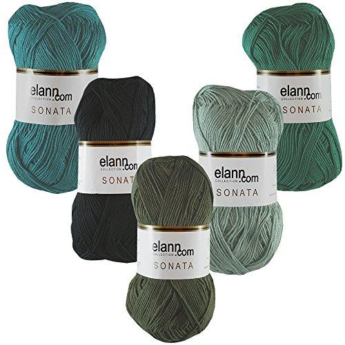 elann Sonata Yarn | 5 Ball Bag | Color Pack 5 - Green with Envy