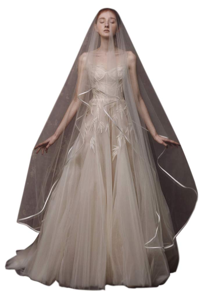 Faithclover Wedding veils Cathedral Length 2 Tier Champagne Ribbon Edge Blusher with Comb