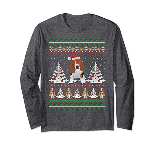 Basset Hound Christmas - Unisex Basset Hound Ugly Christmas Shirt Long Sleeve T-Shirt Small Dark Heather