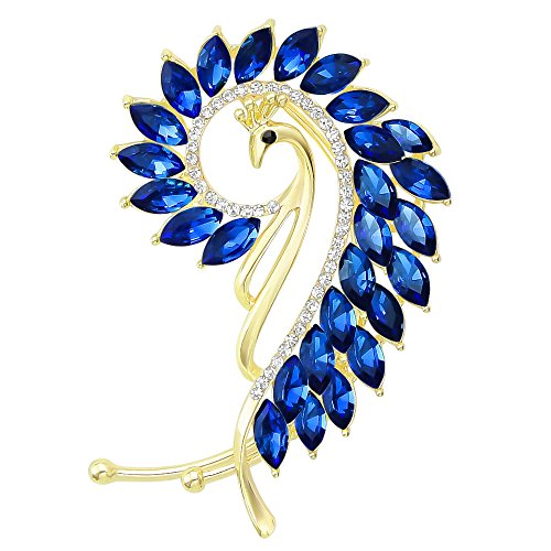 Chic Gold-Tone Cat Eye Stone Peacock Left Side Ear Wrap Cuffs Earrings Non Pierced Earrring (Blue Crystal Eyes Ear Cuff)
