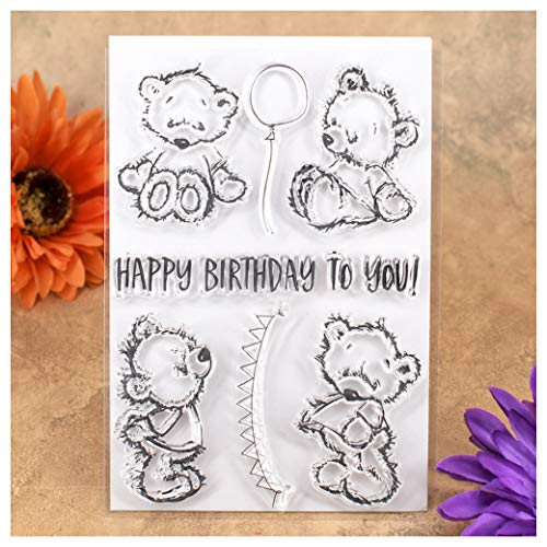 rthday To You Bear Balloon Clear Stamps for Card Making Decoration and DIY Scrapbooking ()