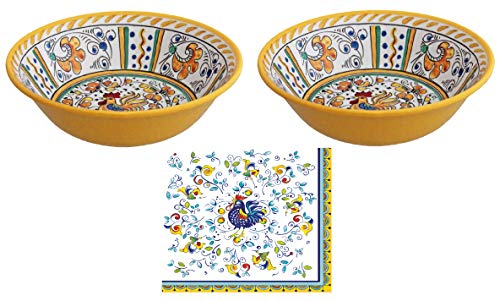 2 Le Cadeaux Florence Melamine Yellow Rooster Bowls (7.5 Inch each) for Cereal, Salsa, Salad, Fruit, Pasta and Dinner Paper Napkins Set | Use at Home, RV, Camping | Break, Scratch and Chip Resistant