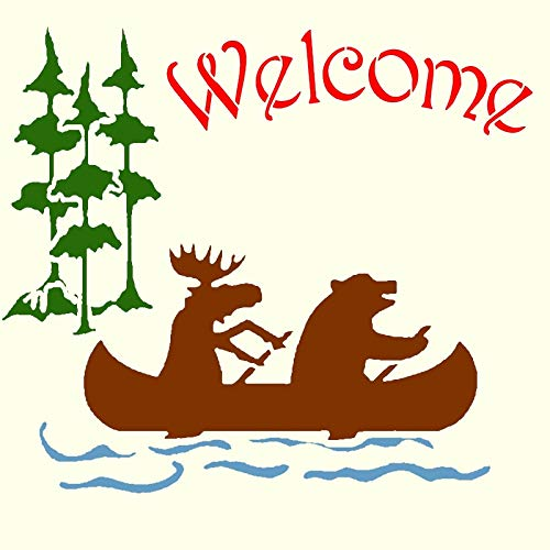 Welcome Moose & Bear in Canoe Stencil Signs Rustic Chic Camping Bears Stencils
