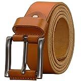 PAZARO Men's Super Soft Top Grain 100% Leather Belt Orange Color