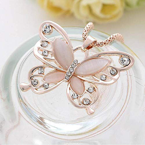 (Rose Gold Jewellery Butterfly Charm Pendant Chain Necklace Womens Girls Gift New)