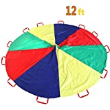 Kids Parachute Play Parachute-12 Foot with 12 Handles for 8 12 Kids Tent Play