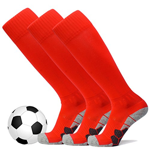 welltree Unisex Knee High Soccer & Football Cushion Socks(Children/Youth/Adult) 3 Pack Red S