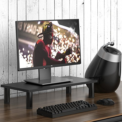 Fitueyes Monitor Stand & Riser, Laptop stand, Tabletop, Desktop TV stand with Height Adjustable Legs, 23.6' L, Black
