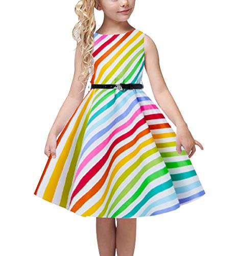 uideazone Children Kid Summer Dress Sleeveless Rainbow Printed Pleated Skirt Dress Casual Floral Sundress with Belt for Girls 10-11 Years ()