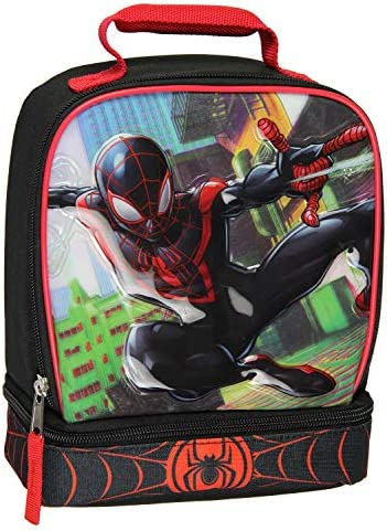 Marvel Spider-Man Comic Superhero Dual Compartment Soft Lunch Bag Box Tote Kit