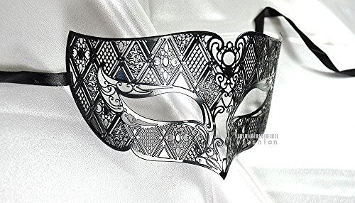 Adecco LLC Men Plated Laser Cut Venetian Masquerade Mask - Filigree Metal Design - Event Party Ball Mardi Gars (metal 9)