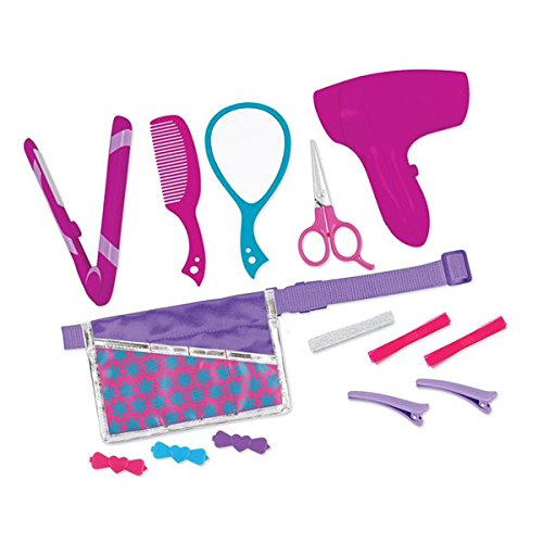 JAC - Conjunto de secador y plancha de pelo con accesorios, set de 14 piezas para muñecas
