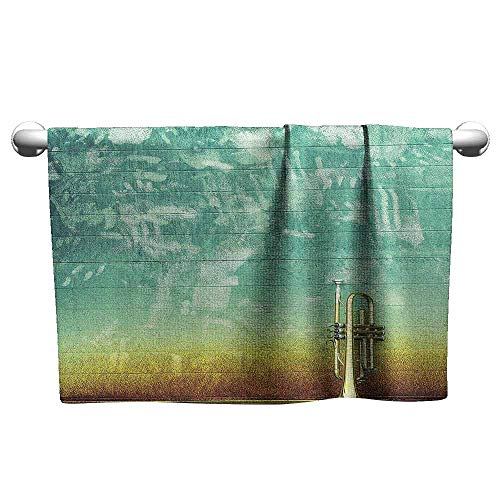 DUCKIL Fancy Hand Towels Music Decor Old Aged Worn Single Trumpet Stands Alone Against a Faded Wall Jazz Music Theme Photo Extra Long Bath Sheet 14 x 14 inch Sea Green Brown]()