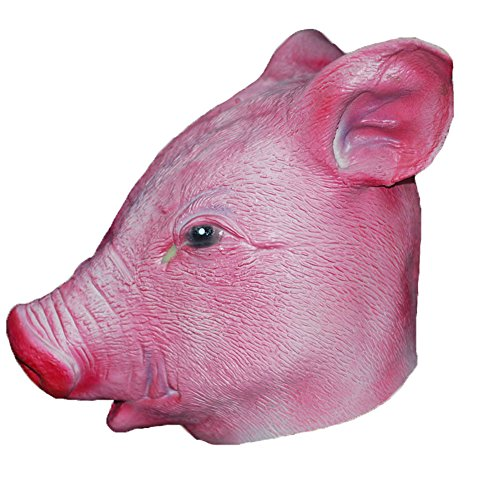 Adult Deluxe Pig Mask (O-Toys Deluxe Latex Animal Head Mask Novelty Halloween Costume Party, Pig)